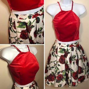 Red rose 2-piece formal dress Dave & Johnny
